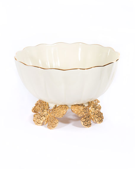 Jay Strongwater Porcelain Fluted Butterfly Bowl