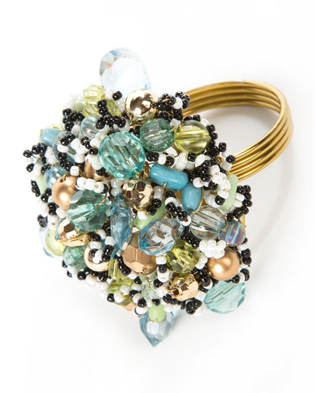 MacKenzie-Childs Beaded Napkin Ring - Ocean