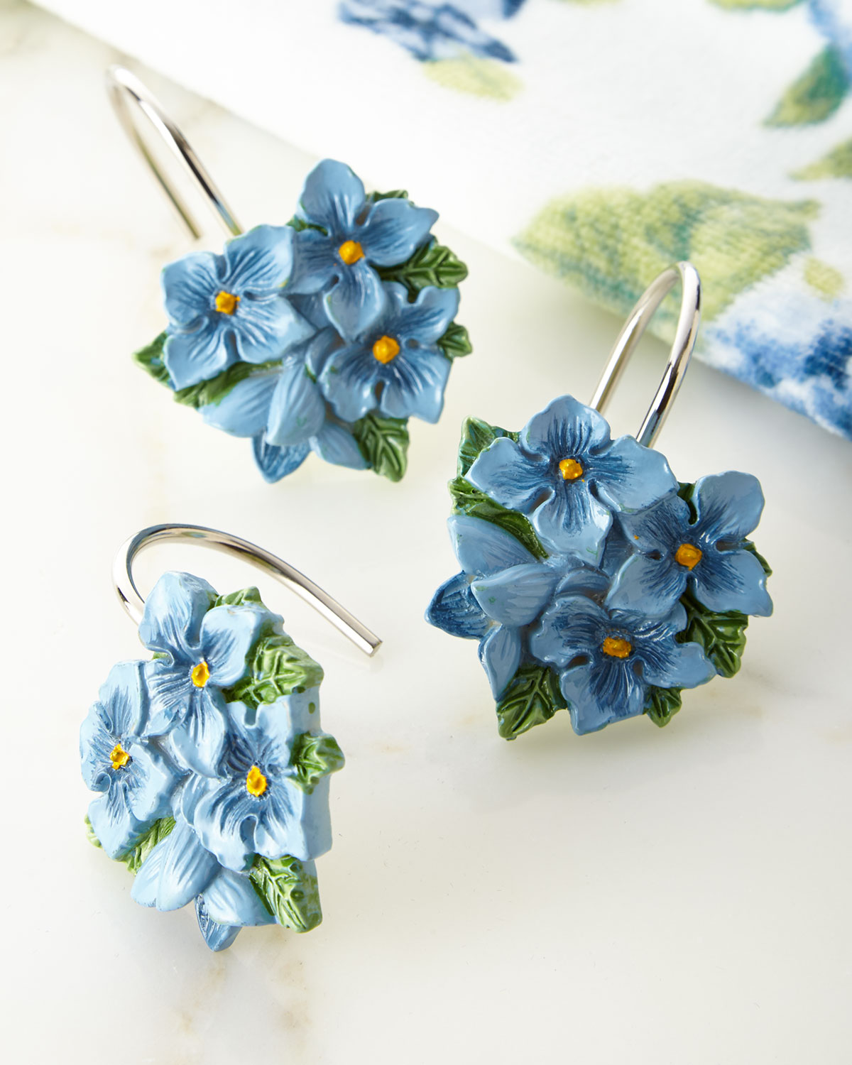 LenoxBlue Flower Garden Shower Curtain Hooks, Set of 12