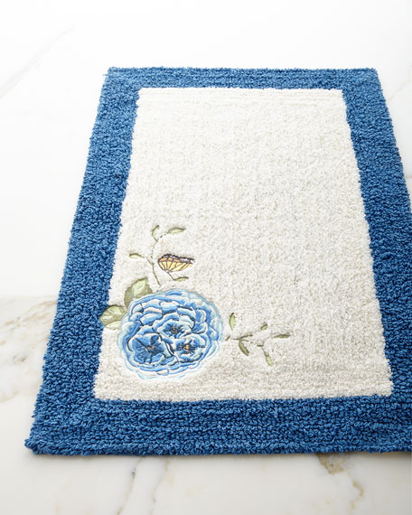 Blue Flower Garden Bath Rug