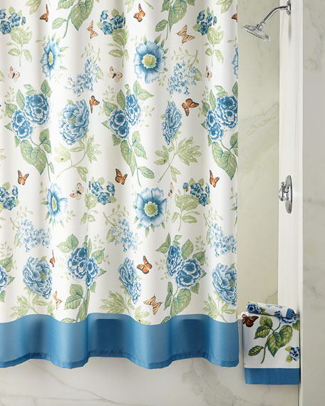 Blue Flower Garden Shower Curtain