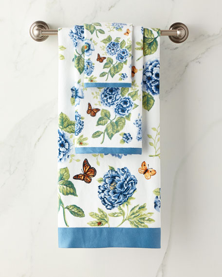 Blue Flower Garden Hand Towel