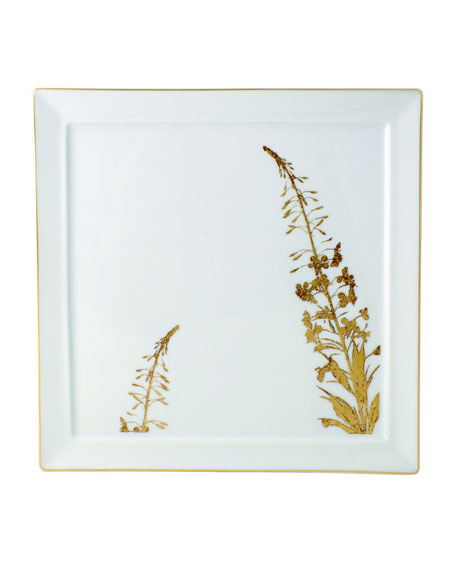 Vegetal Gold Square Plate