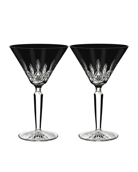 set of 2 lismore black martini glasses