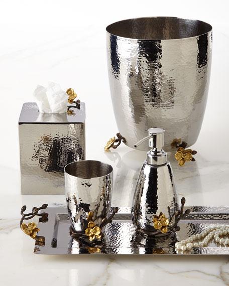 Gold Orchid Wastebasket