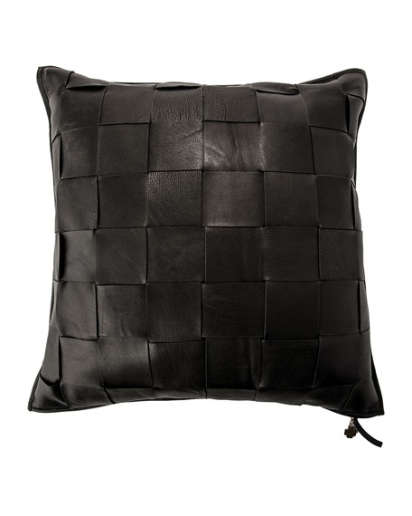 Jan Barboglio Black Trenza Woven Leather Pillow