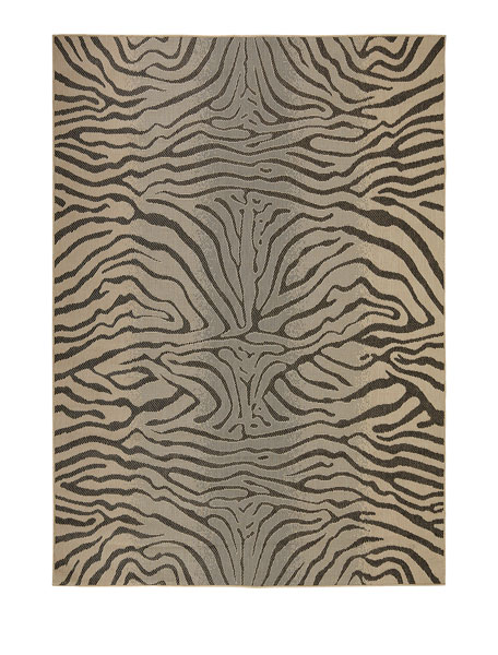 "Zebra Terrace Indoor/Outdoor Rug, 7'10""Sq."