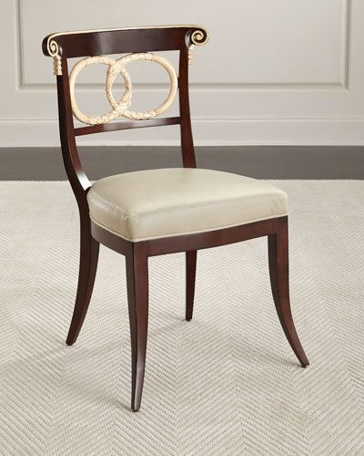 Amie Leather Accent Chair, Brown/Ivory