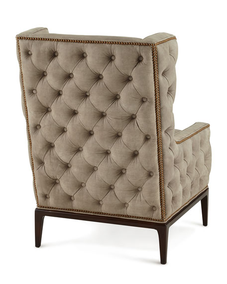 Idris Tufted-Back Leather Wing Chair