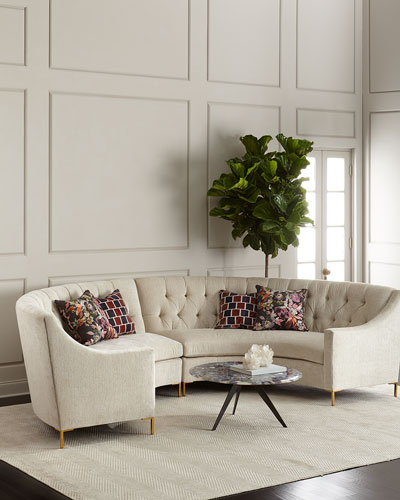 Jasmine Curved Tufted Sectional  Cream