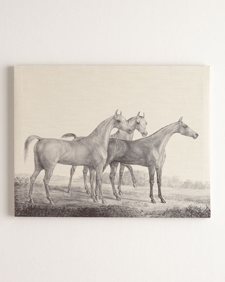 """Three Horses"" Print on Canvas, 40""W x 30""T"