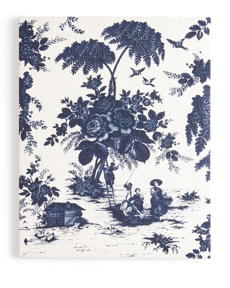 """Blue Toile"" Print on Canvas, 61""T"