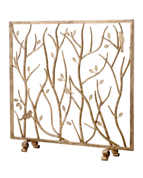 Bird and Branch Fireplace Screen