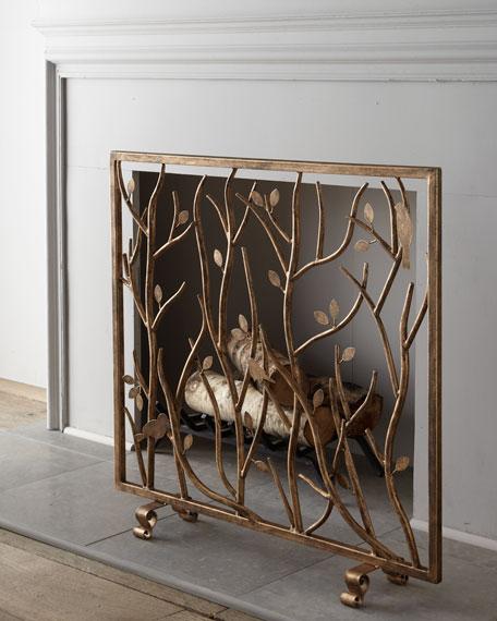 Bird and Branch Fireplace Screen