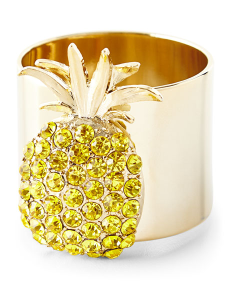 Joanna Buchanan Beaded Pineapple Placemat, White/Gold Napkin, &