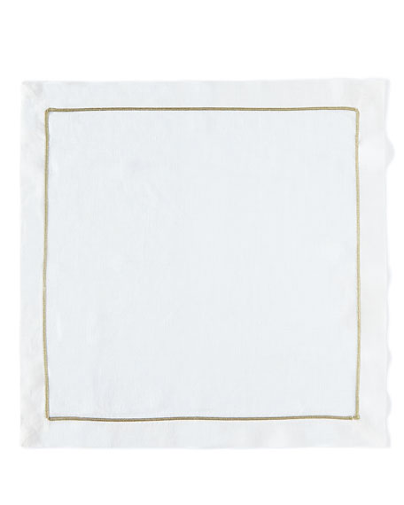 Joanna Buchanan White/Gold Linen Napkin, Set of 2