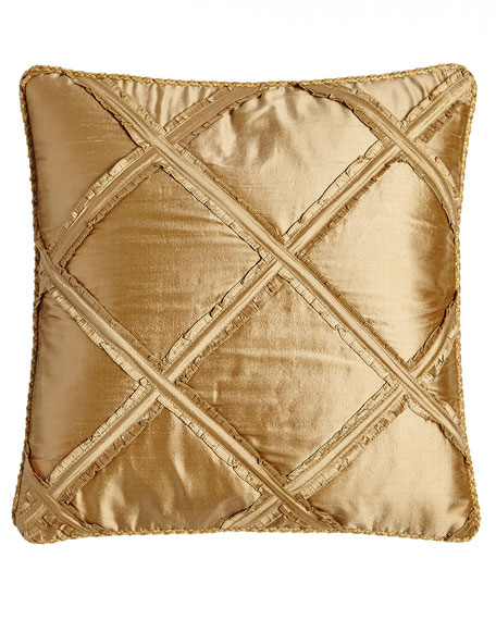 "Synopsis Ruffle-Lattice Pillow, 18""Sq."