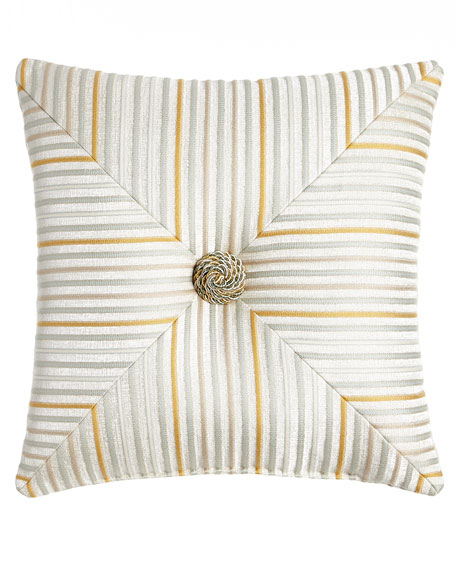 "Mitered Stripe Blossom Pillow, 18""Sq."