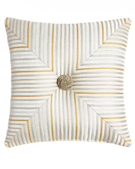 Austin Horn Classics Mitered Stripe Blossom Pillow, 18
