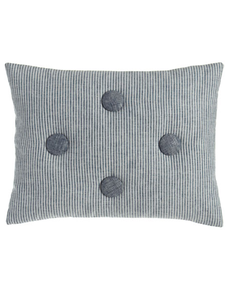 "Maze Striped Pillow with Button Accents, 12"" x 16"""