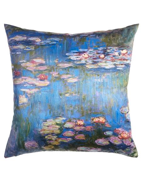 "Monet Purple Water Lilies Pillow, 23""Sq."