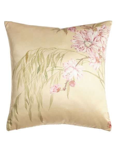 "Pink Blossoms Pillow, 20""Sq."