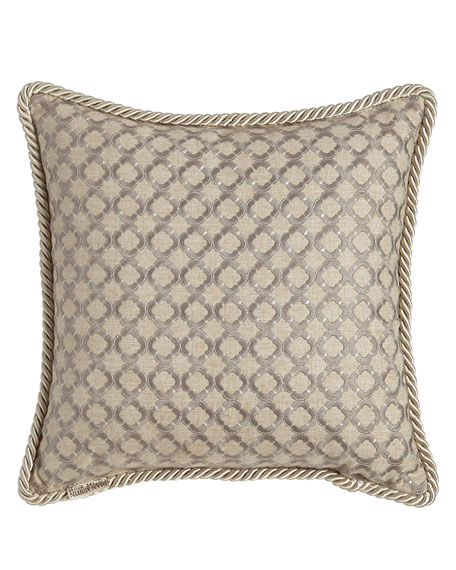 """Hydrangea Embroidered Ogee Pillow, 16""""Sq."""