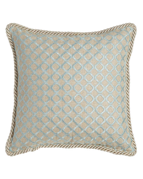 "Hydrangea Embroidered Ogee Pillow, 16""Sq."