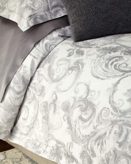 King Gray Scroll Duvet Cover