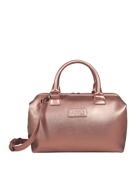 Pink Gold Lady Plume Bowling Bag Luggage, Small