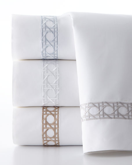 Full 4-Piece Cane-Embroidered 400 Thread-Count Sheet Set