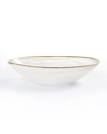 Alabaster White Oval Bowl, Small