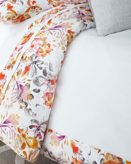 Full/Queen Watercolor Floral Duvet Cover