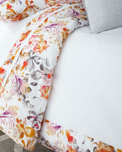 King Watercolor Floral Duvet Cover