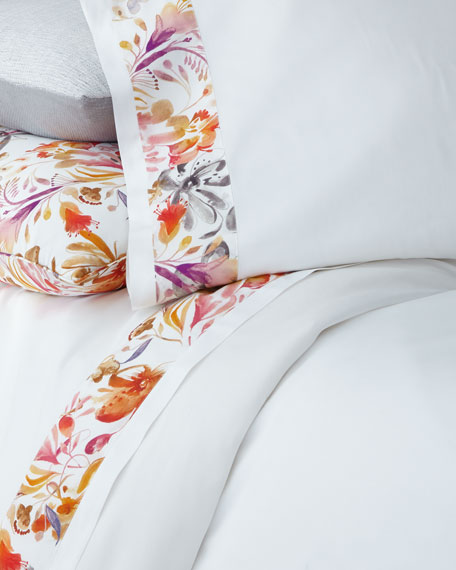 Sferra Full/Queen Watercolor Floral Flat Sheet