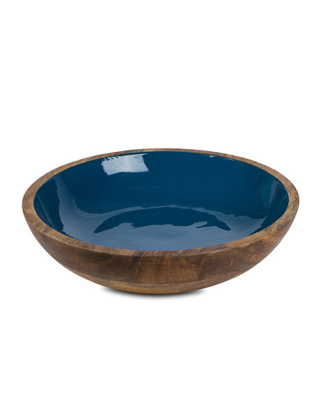 Enamel Mango Wood Bowl, Deep Blue