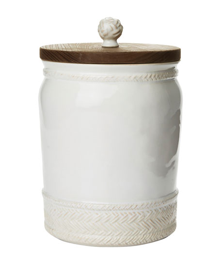"Le Panier Whitewash Canister, 10""T"