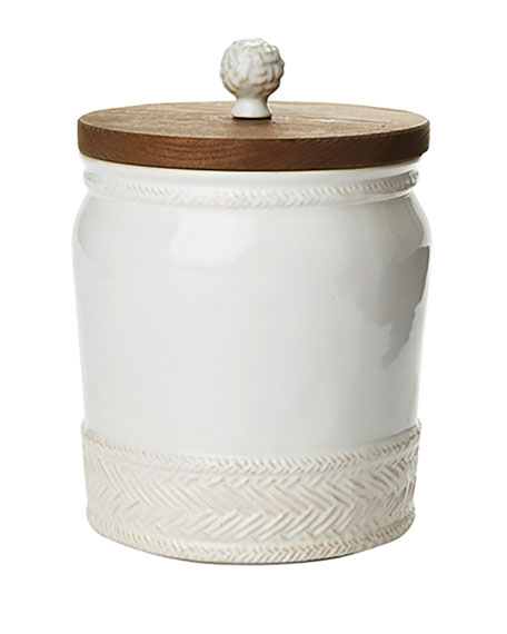 "Le Panier Whitewash Canister, 7.5""T"