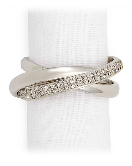 Platinum Plate & Crystal Napkin Ring, Set of 4