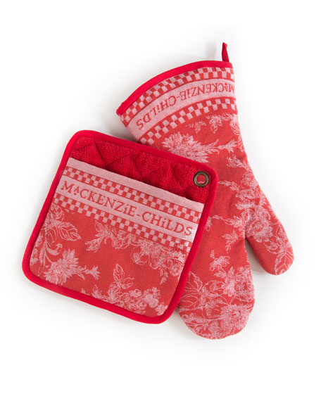 MacKenzie-Childs Wild Rose Oven Mitt, Set of 2