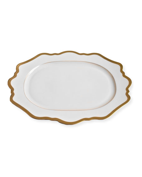 Anna Weatherley Anna Weatherly Antiqued White Oval Platter