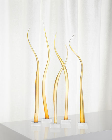 John-Richard Collection Amber Waves of Glass Sculpture, Set