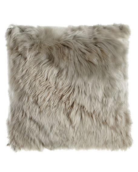 Aviva Stanoff GRAY FUR PILLOW BABY ALPACA