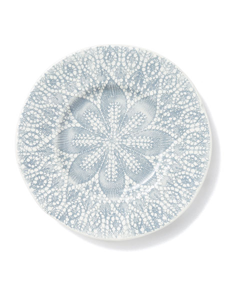 Vietri Lace Gray Cocktail Plates, Set of 4