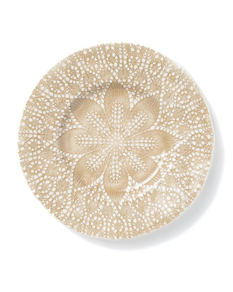 Lace Natural Cocktail Plates, Set of 4