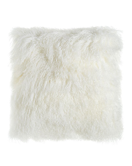 "White Tibetan Lamb Pillow, 26""Sq."