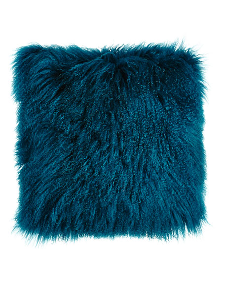 "Teal Tibetan Lamb Pillow, 26""Sq."