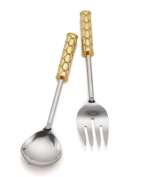 Mary Jurek Helios Brass Salad Servers, Boxed Set