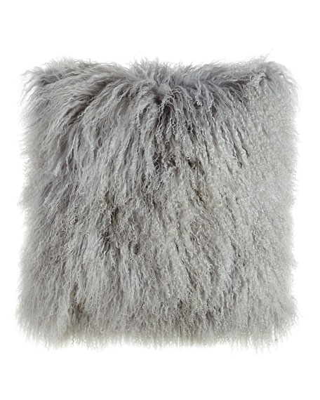 "Fog Gray Tibetan Lamb Pillow, 26""Sq."