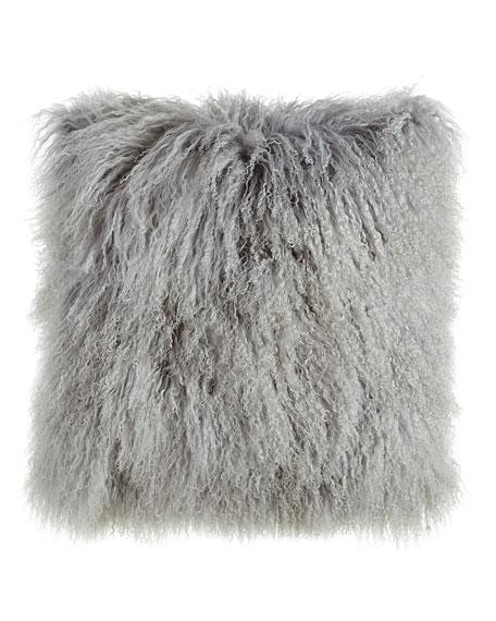 Massoud Fog Gray Tibetan Lamb Pillow, 26